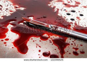 stock-photo-surgeon-knife-on-stainless-steel-autopsy-table-with-blood-122299525